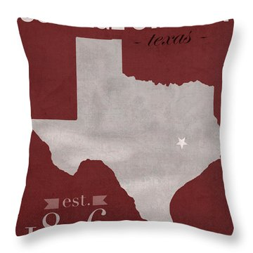 Texas A And M University Aggies College Station College Town State Map Poster Series No 106 Throw Pillow by Design Turnpike
