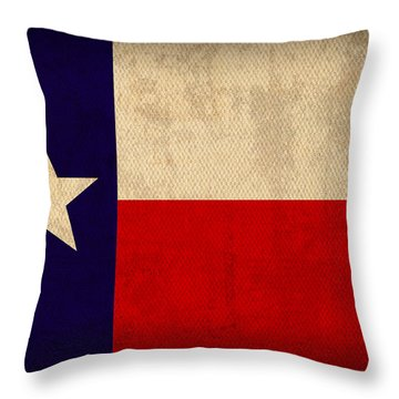Texas State Flag Lone Star State Art On Worn Canvas Throw Pillow by Design Turnpike