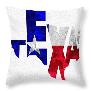 Texas Typographic Map Flag Throw Pillow by Ayse Deniz