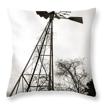 Texas Windmill Throw Pillow by Marilyn Hunt