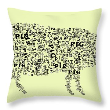 Text Pig Throw Pillow by Heather Applegate