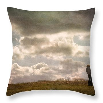 Texting On The Edge Throw Pillow by Gary Slawsky