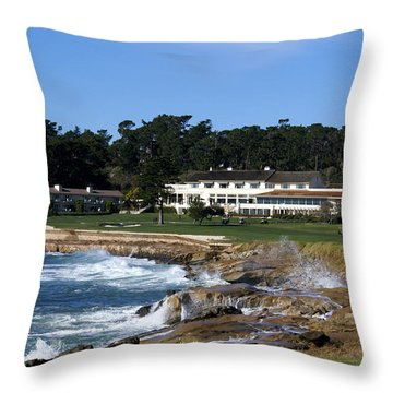 The 18th At Pebble Beach Throw Pillow by Barbara Snyder