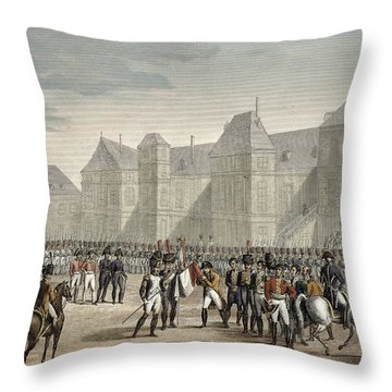 The Abdication Of Napoleon Throw Pillow by Louis Francois Couche