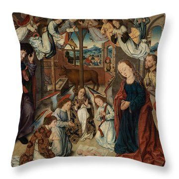 The Adoration Of The Shepherds Throw Pillow by Albrecht Bouts