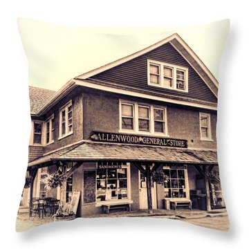 The Allenwood General Store Throw Pillow by Olivier Le Queinec