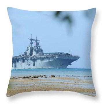 The Amphibious Assault Ship Uss Boxer  Throw Pillow by Paul Fearn