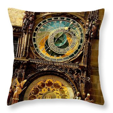 The Ancient Of Clocks Throw Pillow by Ira Shander