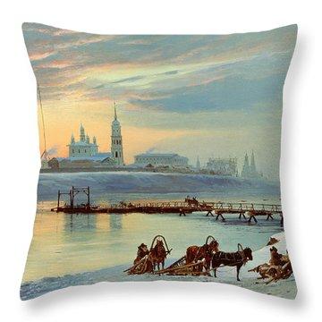 The Angara Embankment In Irkutsk Throw Pillow by Nikolai Florianovich Dobrovolsky