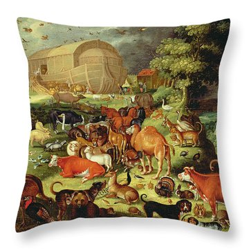 The Animals Entering The Ark Throw Pillow by Jacob II Savery