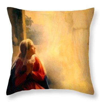 The Annunciation Throw Pillow by Carl Bloch