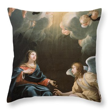 The Annunciation Throw Pillow by Simon Vouet