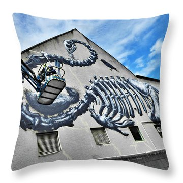 The Artist Roa At Work  Throw Pillow by Steve Taylor
