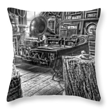 The Back Room Black And White Throw Pillow by Ken Smith