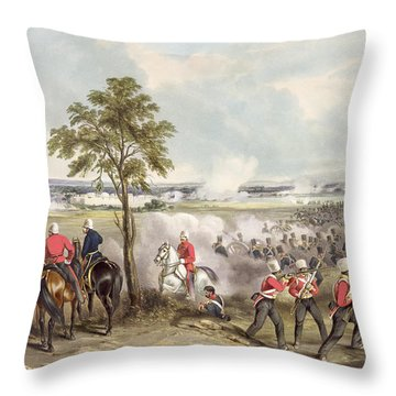 The Battle Of Goojerat On 21st February Throw Pillow by Henry Martens