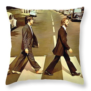 The Beatles Abbey Road Artwork Throw Pillow by Sheraz A