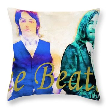 The Beatles Throw Pillow by Barbara Chichester