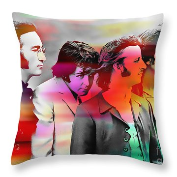 The Beatles Painting Throw Pillow by Marvin Blaine