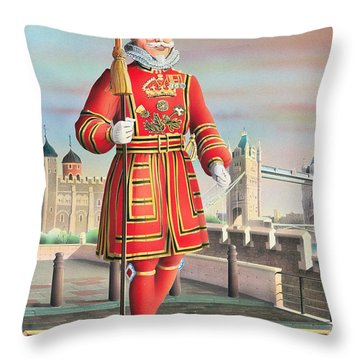 The Beefeater Throw Pillow by Peter Green