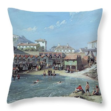 The Beginning Of Sea Swimming In The Old Port Of Biarritz  Throw Pillow by Jean Jacques Alban de Lesgallery
