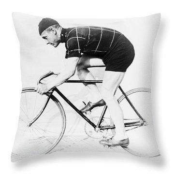 The Bicyclist - 1914 Throw Pillow by Daniel Hagerman
