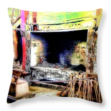 The Blacksmiths Forge. Throw Pillow by Trevor Kersley