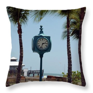 The Blue Clock Throw Pillow by Kathleen Struckle