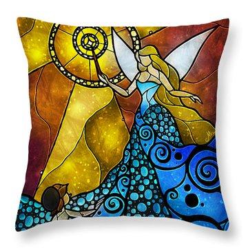 The Blue Fairy Throw Pillow by Mandie Manzano