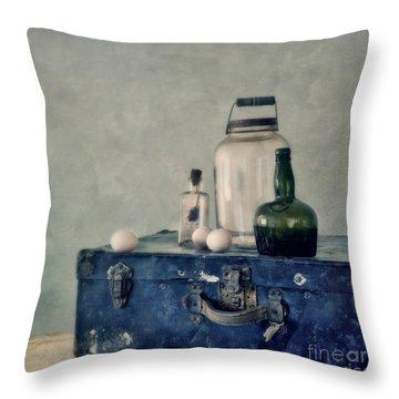 The Blue Suitcase Throw Pillow by Priska Wettstein