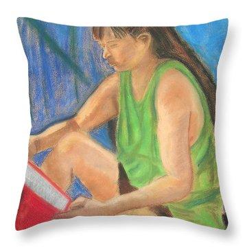 The Book Worm Throw Pillow by Cori Solomon