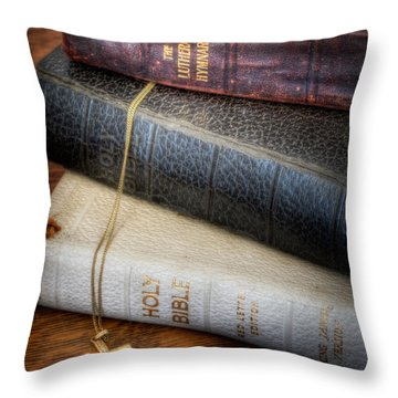 The Books Throw Pillow by David and Carol Kelly