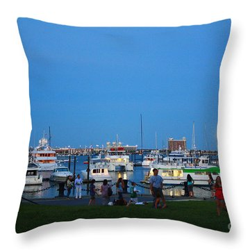 The Boston Wharf In The Early Evening Throw Pillow by Dora Sofia Caputo Photographic Art and Design