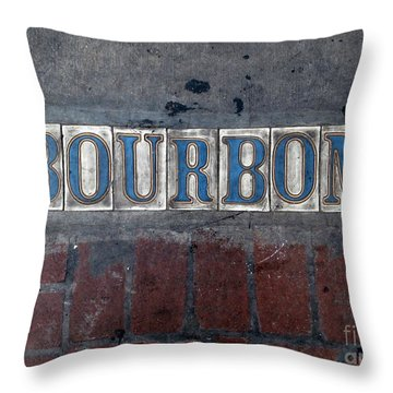 The Bourbon Street Sign Throw Pillow by Joseph Baril