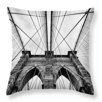 The Brooklyn Bridge Throw Pillow by John Farnan