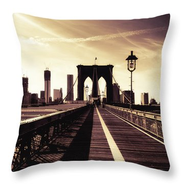 The Brooklyn Bridge - New York City Throw Pillow by Vivienne Gucwa