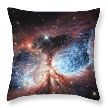 The Brush Strokes Of Star Birth Throw Pillow by Lucy West