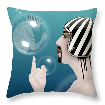 the Bubble man Throw Pillow by Mark Ashkenazi