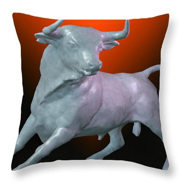 The Bull... Throw Pillow by Tim Fillingim