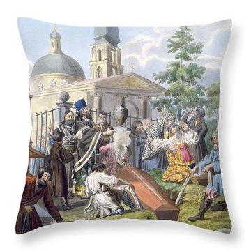 The Burial, 1812-13 Throw Pillow by E. Karnejeff