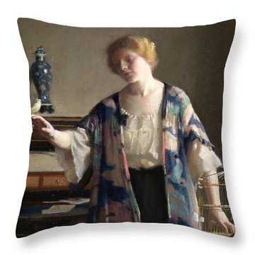 The Canary Throw Pillow by William McGregor Paxson