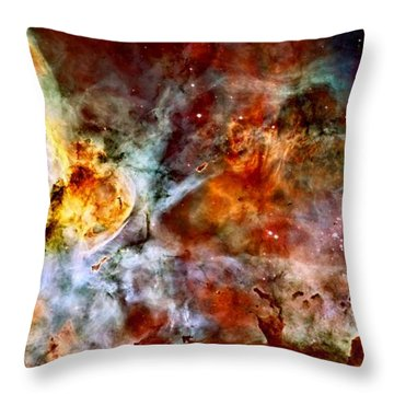 The Carina Nebula Throw Pillow by Amanda Struz