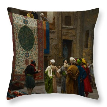 The Carpet Merchant Throw Pillow by Jean Leon Gerome