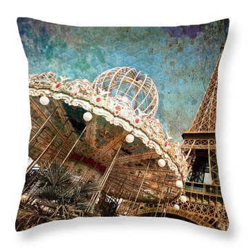 The Carrousel Of The Eiffel Tower Throw Pillow by Delphimages Photo Creations