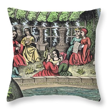 The Castle Of Alamond And Its Enchantments Throw Pillow by French School