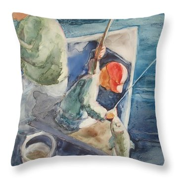 The Catch Throw Pillow by Marilyn Jacobson