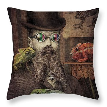 The Chameleon Collector Throw Pillow by Eric Fan
