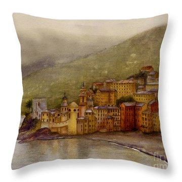 The Charming Town Of Camogli Italy Throw Pillow by Nan Wright