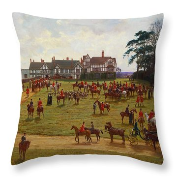 The Cheshire Hunt    The Meet At Calveley Hall  Throw Pillow by George Goodwin Kilburne