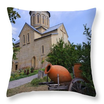 The Church Of St Nicolas Inside The Narikala Fortress Tbilisi Throw Pillow by Robert Preston