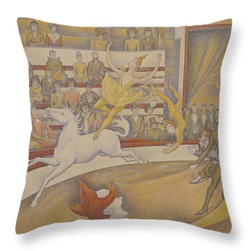 The Circus Throw Pillow by Georges Pierre Seurat